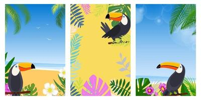 Set card vacation summer. Flat design vector illustration. Summer holidays and beach vacation things and items. Design with exotic leaves, flowers, palms and toucans.