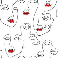 Drawing abstract face seamless pattern with red lips. Modern minimalism art, aesthetic contour. Continuous line background with woman faces. vector