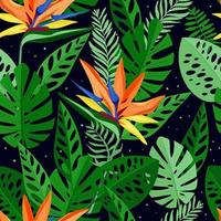 Seamless pattern with tropical flowers and leaves of strelitzia. Hand drawn, vector, bright colours. Background for prints, fabric, wallpapers, wrapping paper. vector