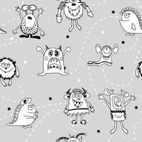 Seamless funny black and white monsters in space with stars. Ideal for baby textile, wallpapers and paper. vector