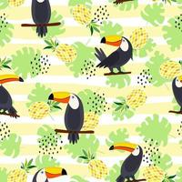 Toucan, exotic birds, tropical palm leaves and pineapple. Beautiful seamless vector floral pattern background. Vector seamless pattern for stylish fabric design, paper, web.