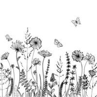 siluetas negras de hierba, picos y hierbas aisladas sobre fondo blanco. boceto dibujado a mano flores y abejas. diseño de páginas de libros para colorear, elementos para la decoración del hogar y textiles. vector