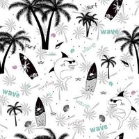 Summer funny seamless pattern design. Shark with sunglasses, palm tree, surfboard, wave and seashell. vector