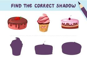 Find the correct shadow. Desserts. Sweet cake and cupkake. Educational game for kids. Collection of children's games. Vector illustration in cartoon style