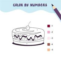 Color cute sweet cake by number. Educational math game for children. Coloring page. vector