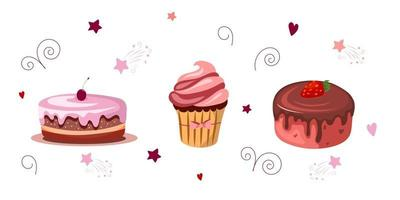 Set of sweet desserts. Cakes with chocolate, strawberries, cherries, cupcake. Vector illustration isolated on white background. Cartoon style