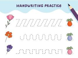 Handwriting practice for preschool children. Tracing lines with colorful flowers. Educational kids game. Worksheet for kids vector