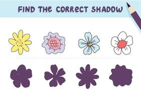 Find the correct shadow. Cute flowers. Educational game for kids. Collection of children's games. Vector illustration in cartoon style