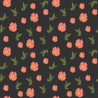 Floral seamless pattern with leaves in hand drawn style. vector illustration for romantic design