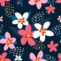 The flowers are white and pink. Vector seamless pattern in flat style on dark blue background