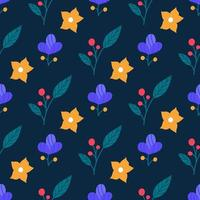 Bright cute flowers and plants on a blue background. Vector seamless pattern in a flat style