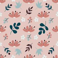 Cute flowers and plants on a light background. Vector seamless pattern in a flat style