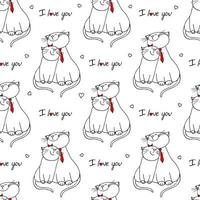 Seamless pattern with cats in love. Vector illustration character design couple cat falling in love and heart for valentine day. Doodle cartoon style.