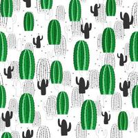 Cacti seamless pattern. Hand drawn textured decorative illustration. Vector succulents. Vector seamless pattern for stylish fabric design, paper, web.