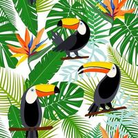 Toucan, exotic birds, tropical palm leaves, jungle and flowers. Beautiful seamless vector floral pattern background. Vector seamless pattern for stylish fabric design, paper, web.