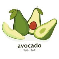 Set of avocado illustrations isolated on white background. Slice and whole fruit and leaves. Vegan food vector icons in cartoon style.