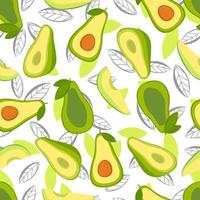 vector de fondo sin fisuras con rodajas de fruta de aguacate sobre un fondo blanco. textura para alimentos ecológicos y saludables de patrones sin fisuras para la cocina, para imprimir en textiles de verano y estuches para teléfonos.