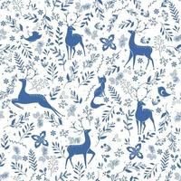 Winter seamless vector pattern with holly berries, deer, fox, bird and christmas branch. Part of Christmas backgrounds collection. Can be used for wallpaper, pattern fills, surface textures, fabric prints.