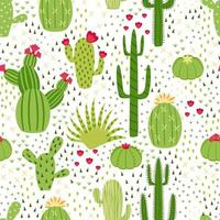 Seamless cute cactus illustration. Tropical pattern of different cacti, aloe and flowers. Print for fabric, phone case and wrapping paper. vector