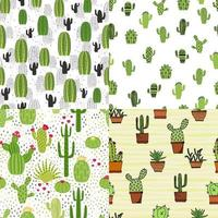 Set of seamless cute cactus illustration. Tropical pattern of different cacti, aloe and flowers. Print for fabric, phone case and wrapping paper. vector