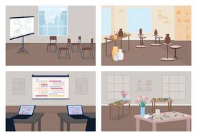 Workshops flat color vector illustration set