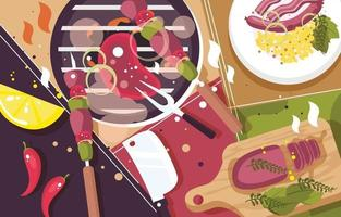 Flat Lay Concept of Barbeque Element vector