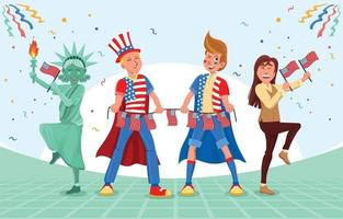 People Celebrating 4th of July Character vector