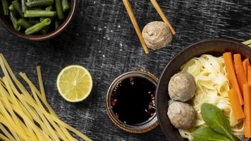 Assortment of traditional Indonesian bakso photo