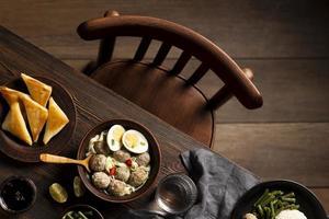 Composition of delicious Indonesian bakso photo