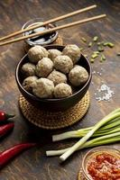 Arrangement of traditional Indonesian bakso photo