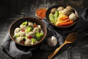 Composition of traditional Indonesian bakso photo