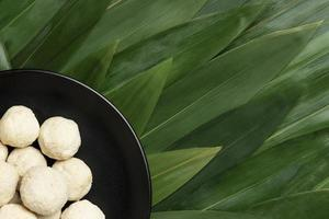 Flat lay delicious Indonesian bakso composition photo
