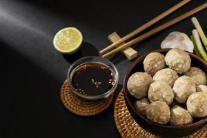 Flat lay composition of delicious Indonesian bakso photo