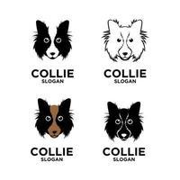 diseño de logotipo simple perro collie vector
