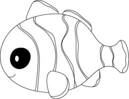 Clownfish Kids Coloring Page Great for Beginner Coloring Book vector