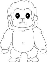 Gorilla Kids Coloring Page Great for Beginner Coloring Book vector