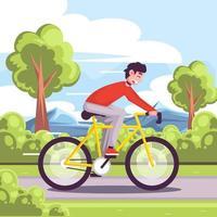 andar en bicicleta en un día soleado vector