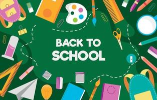 School Stationary Background in Flat Design vector