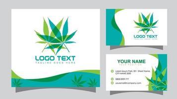 Cannabis Leaf Logo and Business Card vector