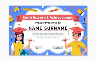 Certificate Template with Students Character vector