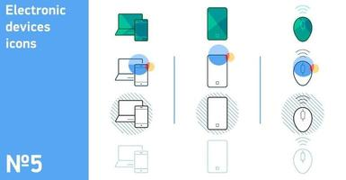 This is a set of phone icons with a laptop and a computer mouse in different styles vector