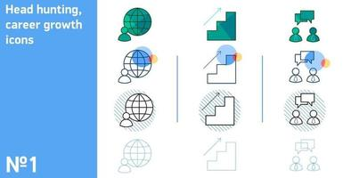 This is a set of icons for dialogue and career advancement and remote work in different styles vector