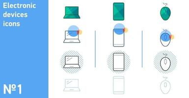 This is a set of icons for your smartphone and computer mouse and laptop in different styles vector