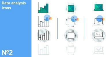 Este es un conjunto de iconos de CPU y portátiles y análisis de datos en diferentes estilos. vector