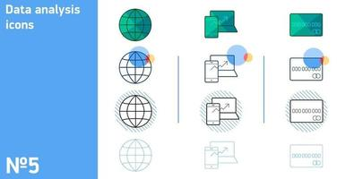 This is a set of icons of the globe and a plastic card and the growth of statistics in different styles vector