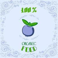 Esta es una ilustración de doodle de arándanos con patrones vintage y letras de comida 100 por ciento orgánica. vector