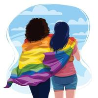 Lesbian Couple Hugging with Pride LGBTQ Flag vector