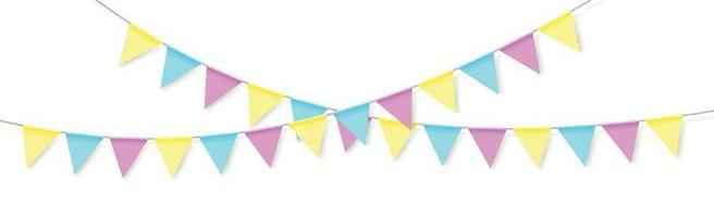 Hanging holiday flags of different colors on a white background vector