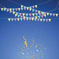 Hanging holiday flags of different colors on a blue background vector