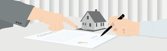 Signing a house purchase agreement, receiving keys - Vector